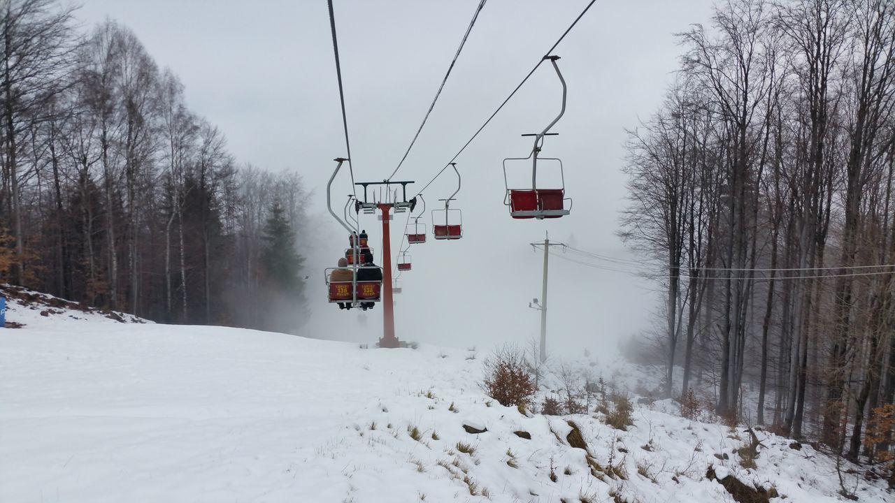 Beauty In Nature Cold Temperature Fog Nature Overhead Cable Car Ski Lift Snow Travel Week On Eyeem Winter Transportation Maximum Closeness Backgrounds Season  Travel Destinations Extreme Weather Landscape Mountain Romanian Lands