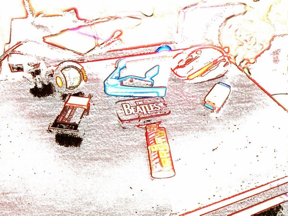 LOVE YOU Sketch Doodle Communication Paper Technology Multi Colored Internet Wireless Technology Desk Art Desktop Desk From Above Guitar Tuner Guitar Capo Battery Laptops Lighter Mouse USB USB Flash Drive