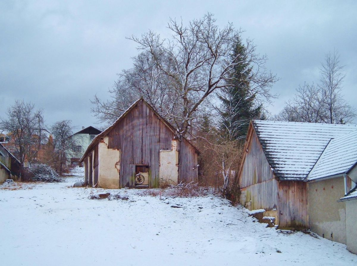Abandoned Architecture Bare Tree Barn Building Exterior Built Structure Cold Cold Temperature Damaged Field Grass House Narrow No People Obsolete Old Outdoors Weather Winter Wood