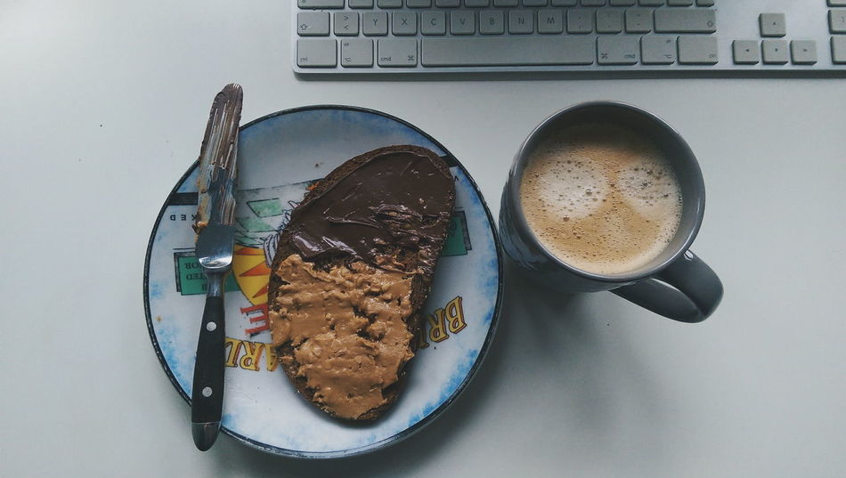 Toasted Bread Food Indoors  Food And Drink Healthy Eating Freshness No People Food State Day Nougat Creme Peanutbutter Keyboard Desk Desks From Above Coffee Mug Coffee Cup Minimal