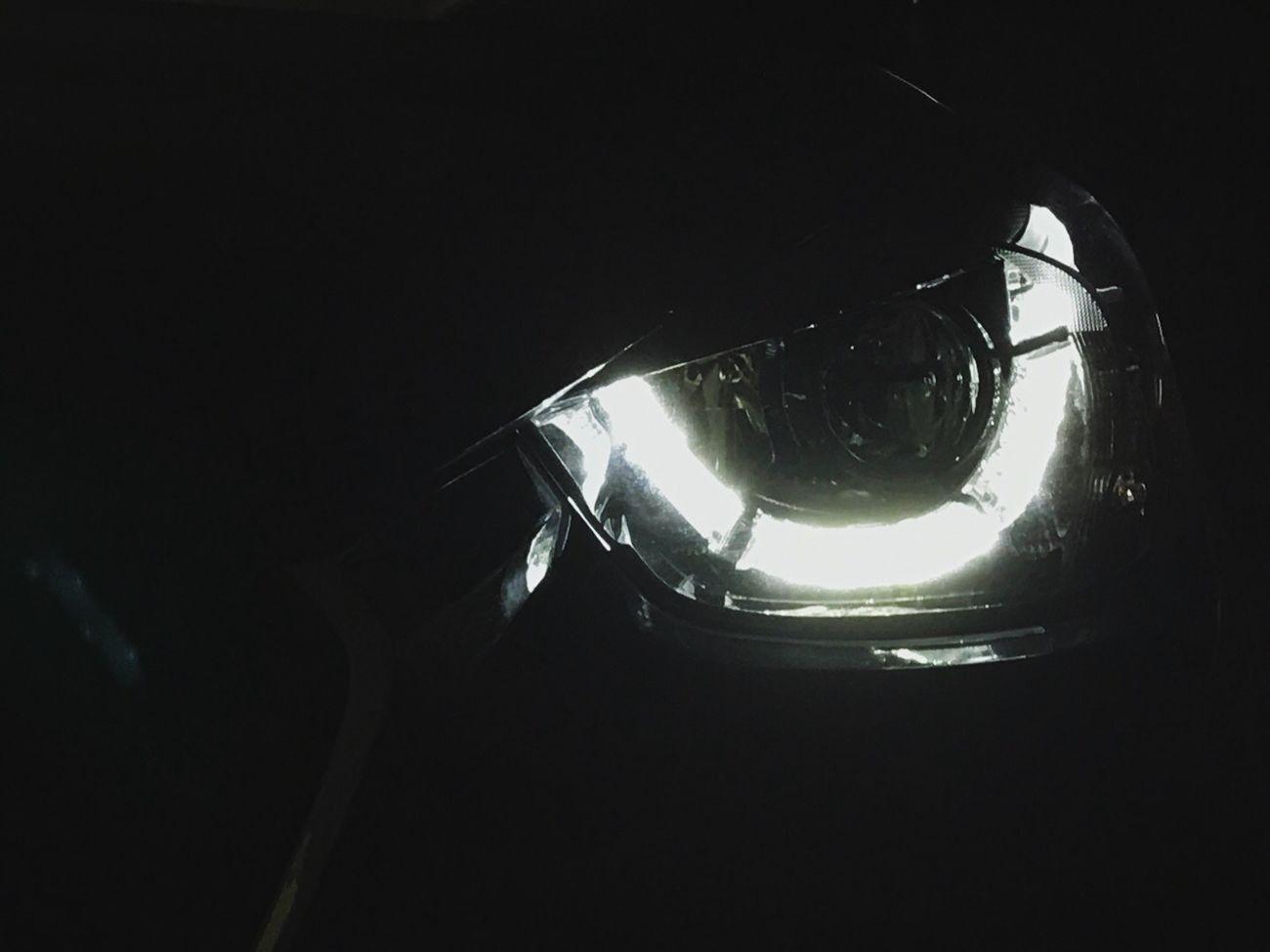 Shot with iPhone 7+. Car Mazda Headlight Light