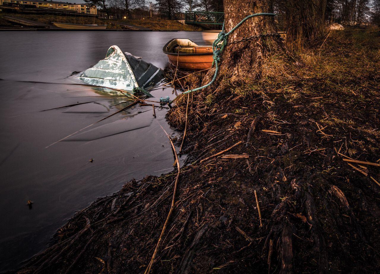 Boat Sunken Boat Lakeshore Outdoors