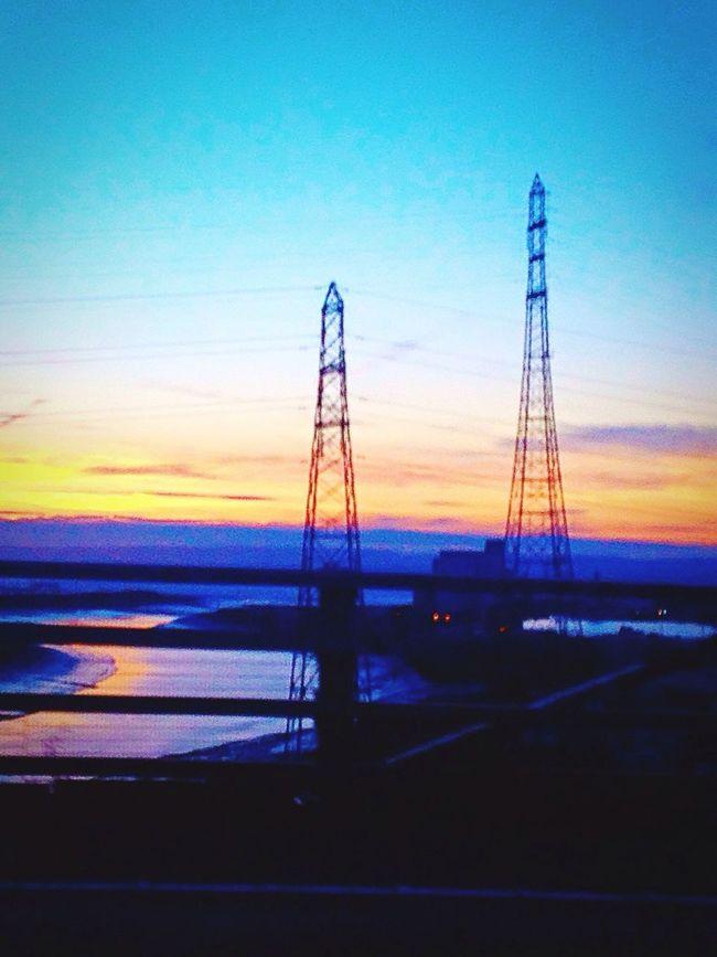 Pilons Sunset Silhouette Landscape Colours Orange Blue Sky