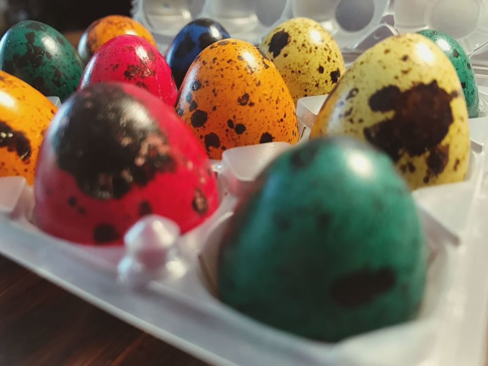 Quail Eggs Eggs Easter Eggs Easter Colored Eggs Colored Quail Eggs Indoors  Multi Colored Egg Easter Still Life Easter Egg Close-up Food Food And Drink Selective Focus Variation Celebration No People Day