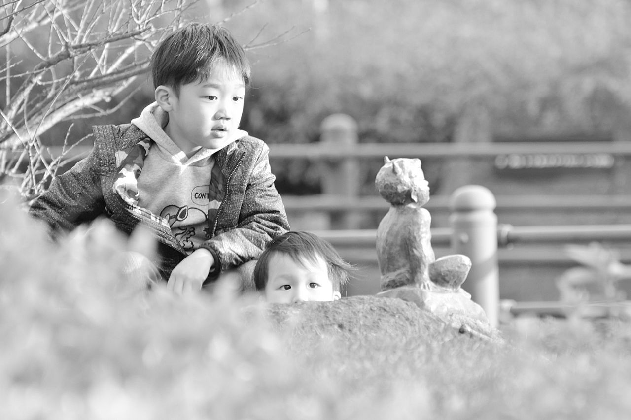 childhood, real people, boys, girls, elementary age, two people, looking at camera, cute, togetherness, lifestyles, child, outdoors, day, portrait, people