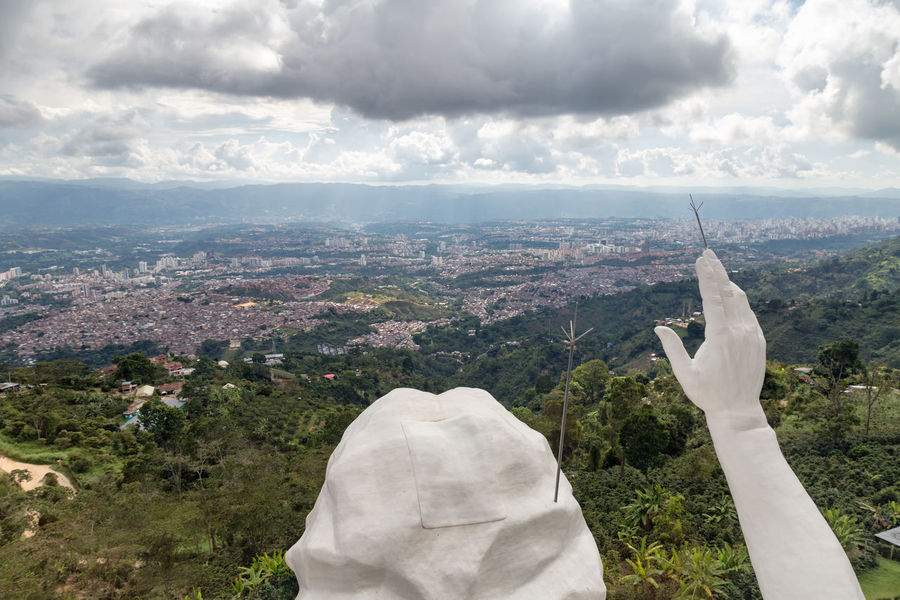 View of the hands and head of the El Santisimo Jesus Statue above Bucaramanga, Colombia. Catholic Cityscape Colombia Eco Park Floridablanca God HEAD Jesus Latin America Santander Statue Bucaramanga Christ Ecoparque El Santisimo Hand Holy Jungle Landmark Landscape Park Santisimo South America Theme White