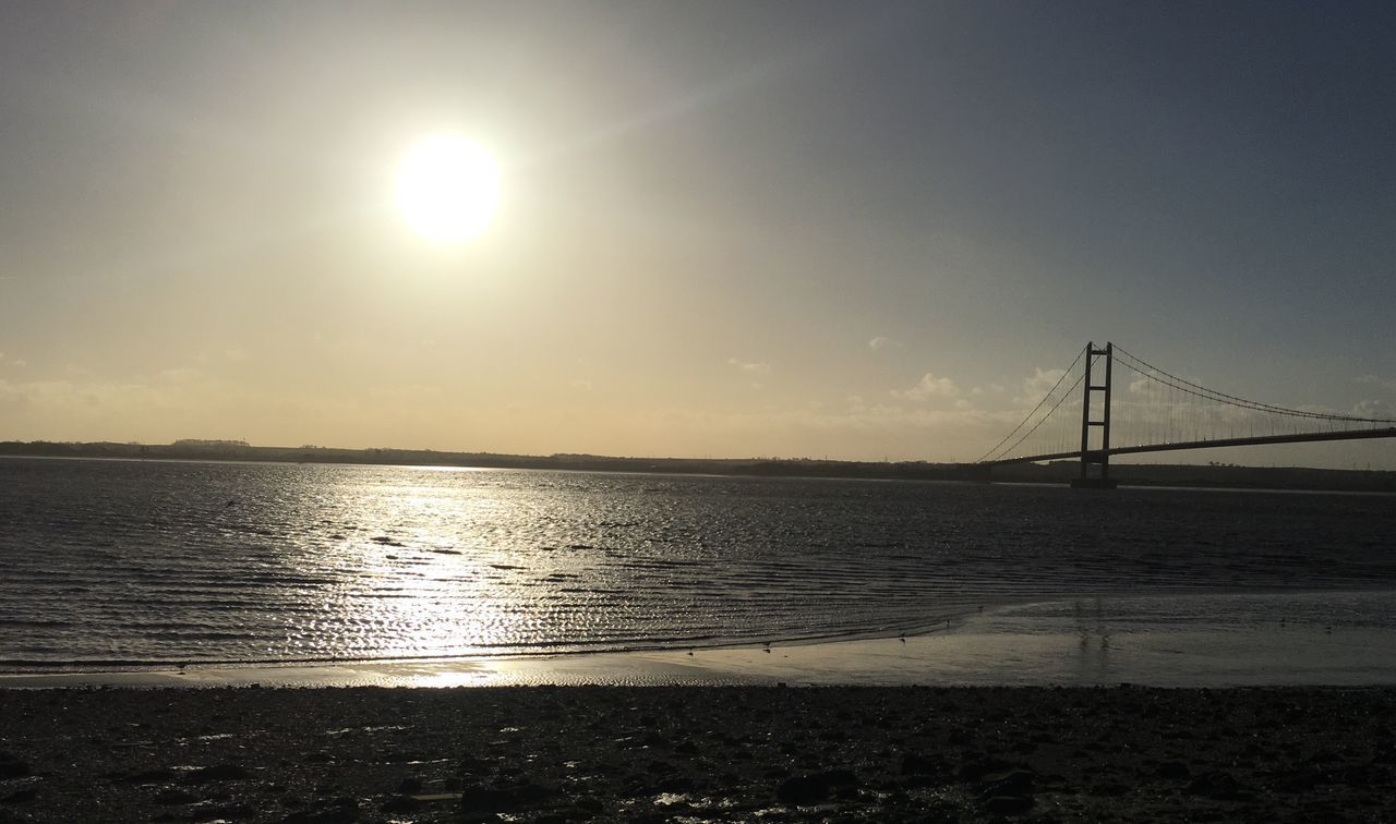 Sun Water Sunlight Sky Tranquility Suspension Bridge Horizon Over Water Beauty In Nature Winter Sun River Humber Humber Bridge Winter Blue Sky City Of Culture 2017 Hull 2017