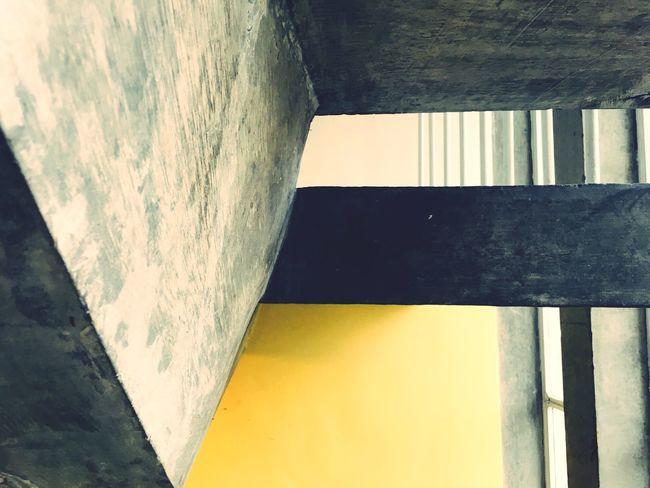 Shape V Shape Stair Window Fire Escape Yellow Concrete Stair