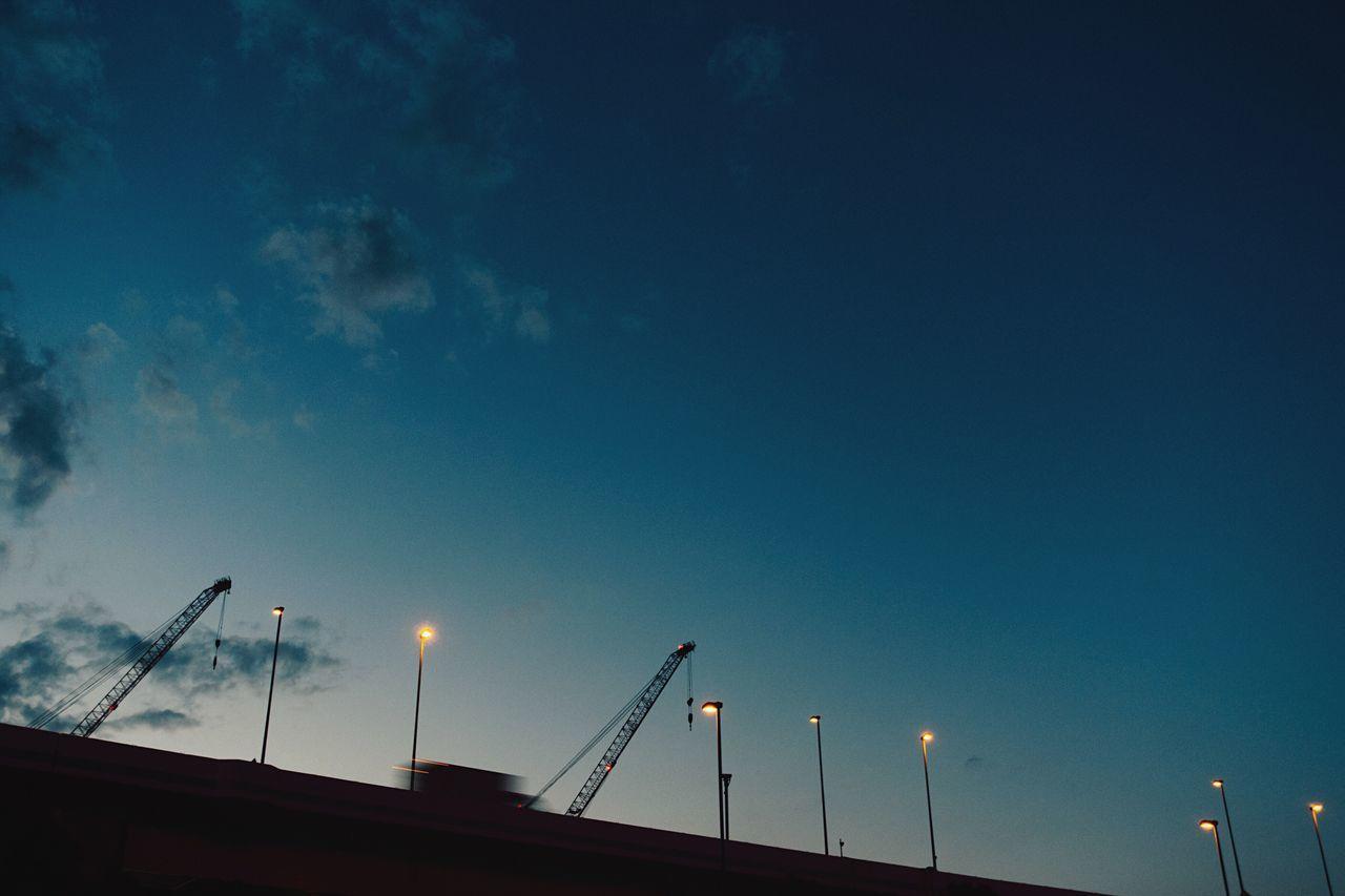 The City Light Cityscape Evening Sky Light Pole Passing Highway Dark Blue Sky Low Angle View Spring Atomosphere Illuminated No People Built Structure Blue Clouds And Sky Sky And Clouds Urban Skyline Yokohama Japan Yokohama, Japan April April 2017