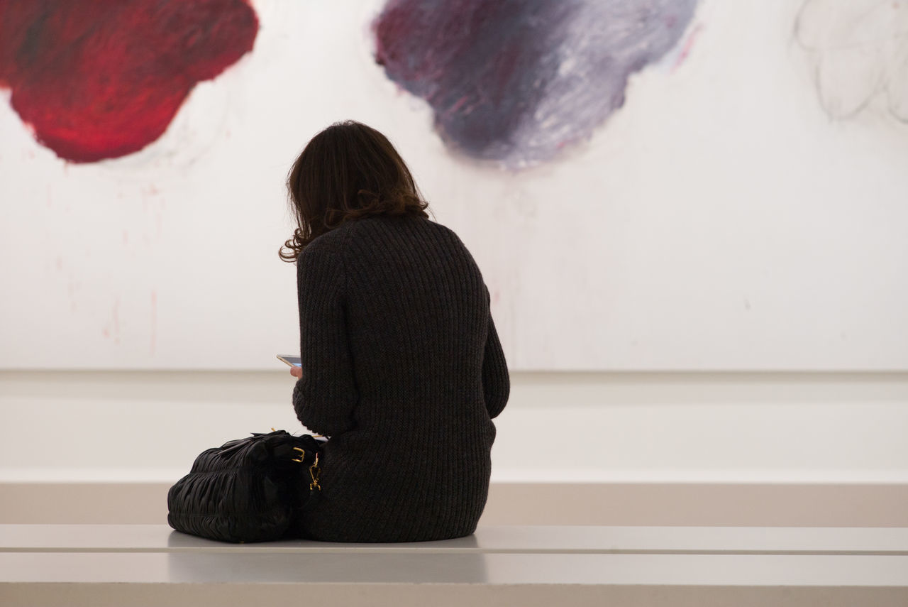 Paris Art Centre Pompidou Cy Twombly Exhibition From The Back One Person Painting Paris Person Rear View Women