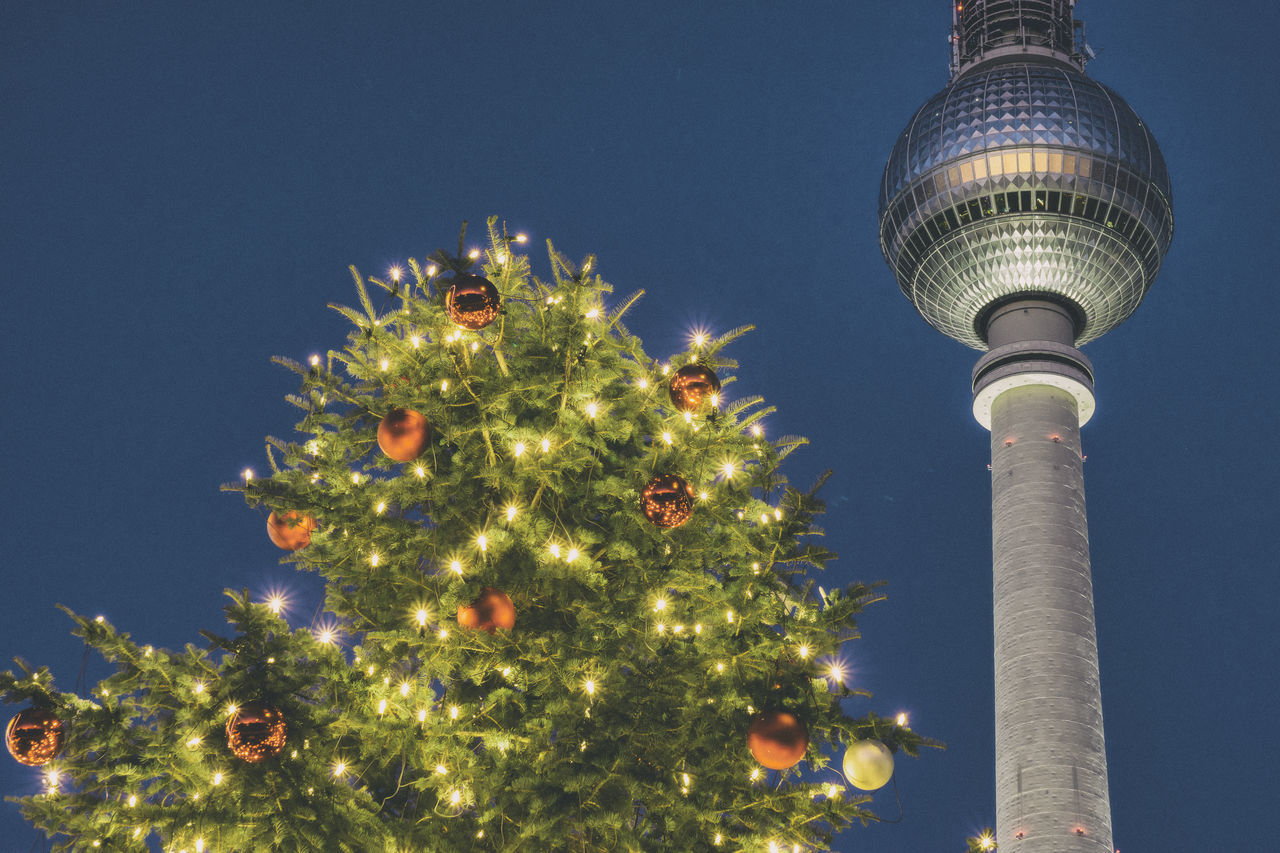 TV Tower with Christmas tree of Christmas market in Berlin, Germany Architecture Berlin Built Structure Celebration Christmas Christmas Decoration Christmas Lights Christmas Ornament Christmas Tree City Color Image Communication Germany Horizontal Illuminated Low Angle View Night No People Outdoors Photography Sky Travel Destinations Tree TV Tower
