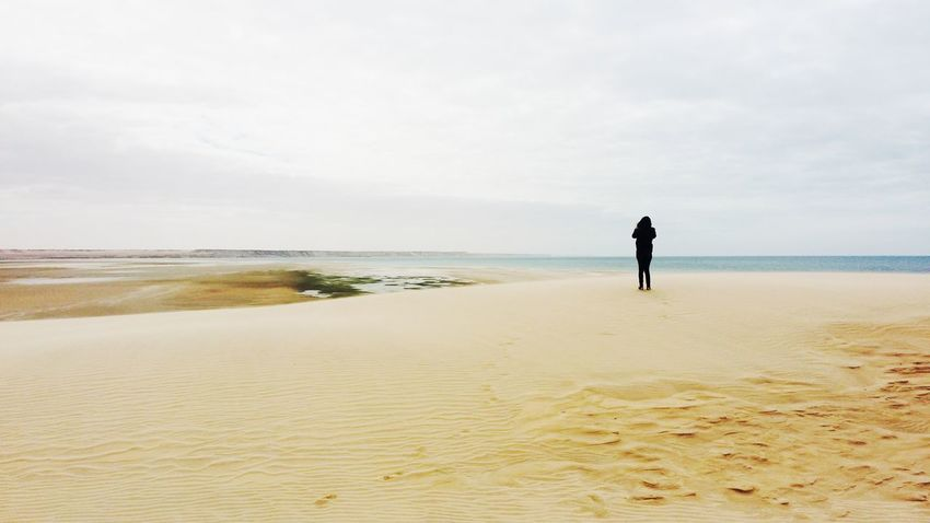 La dune blanche, Dakhla, morocco Horizon Beach Sand Sea Full Length Horizon Over Water People Water Tranquility Landscape One Man Only Loneliness One Person Standing Adult Day Sky Summer Outdoors Silhouette Only Men