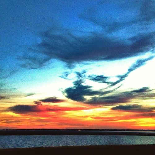 Beautiful Clouds Sunset Sun sky fall bay newjersey love photooftheday colors colorful orange driving nature earth