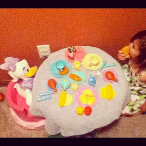 Teaparty with Daisyduck Disney Friends are the best kind lol silly babygirl :) igkids igdaily instago instagram instagram_kids