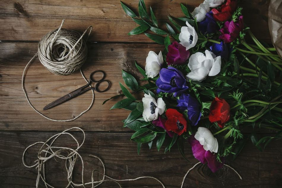 Creativity Directly Above Table No People Wood - Material Flowers Anemones Still Life StillLifePhotography Scissors Twine, Cord, Yarn, Thread, Strand, String Vintage Retro