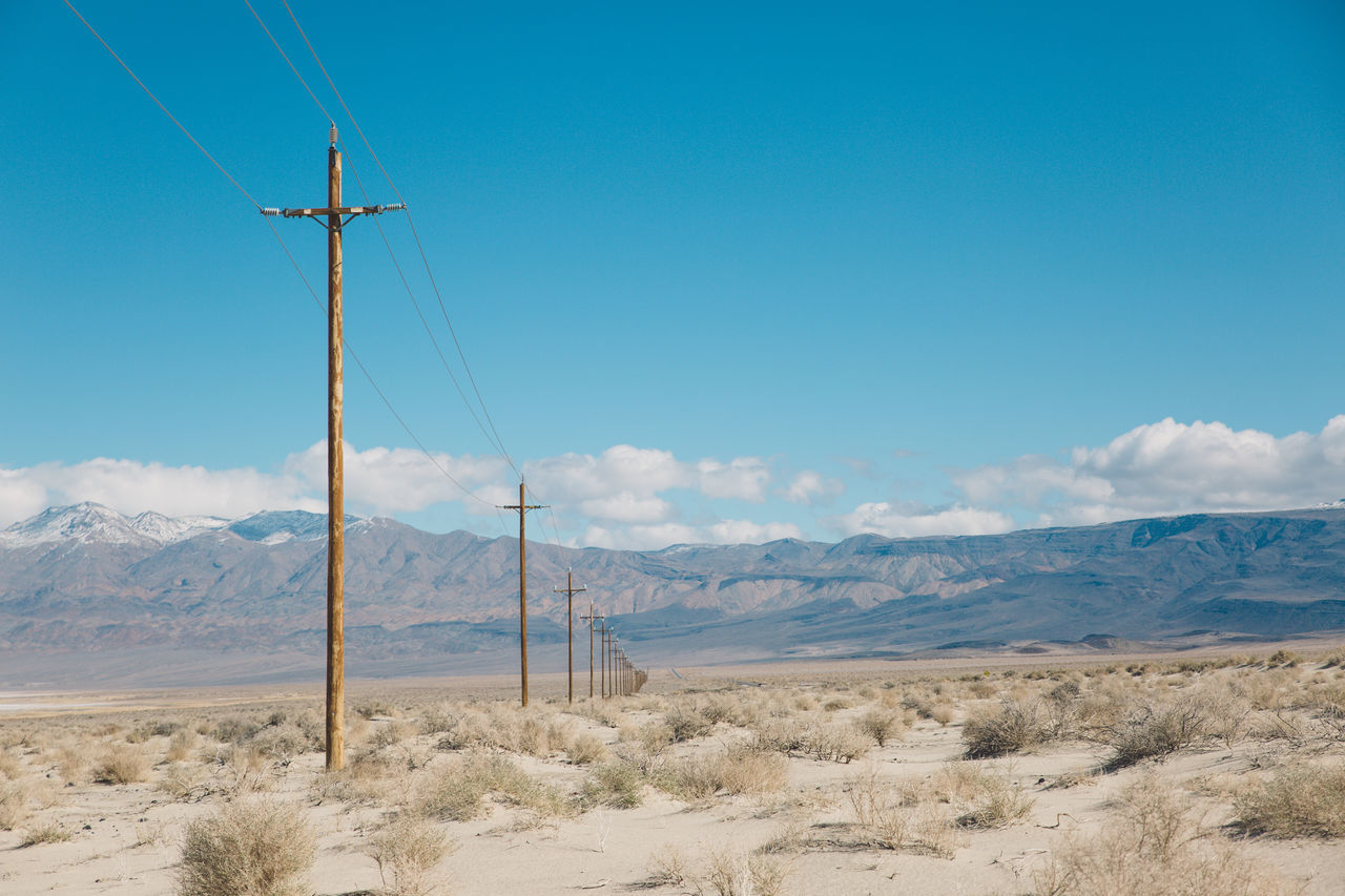 Arid Climate Arid Landscape Beauty In Nature Blue Blue Sky CA-190 Cable California Cloud - Sky Day Death Valley Desert Fuel And Power Generation Landscape Mountain Mountain Range Nature No People Outdoors Road Roadtrip Scenics Sky Tranquil Scene Tranquility