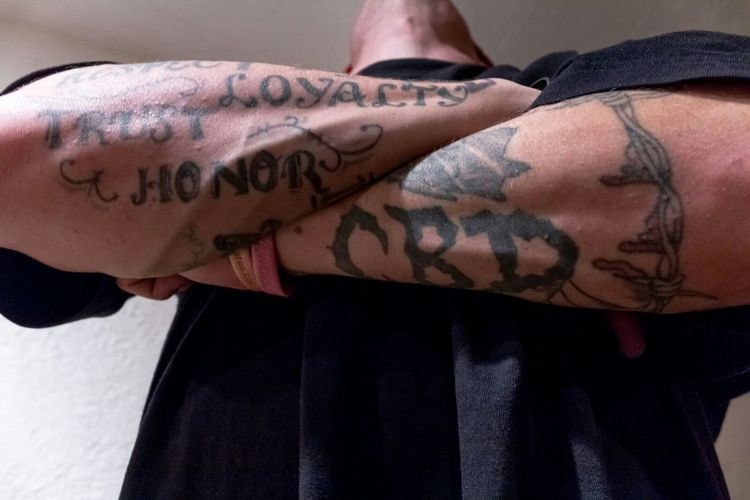 """""""Loyalty. Trust. Honor."""" (2014) Tattoos Tough Guy Men Protrait Bodylanguage body art Inked One Man Close-up Crossed Arms Forearm Forearm Tattoo Muscular Muscular Arm Muscular Man No Face"""
