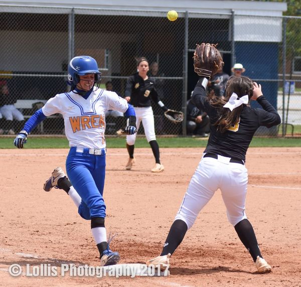 Madison King beats the throw to first base during their 1-3 loss to North Augusta on May 6. Wren Hurricanes Wren Softball Lollis Photography Softball Softball Playoffs Playoffs