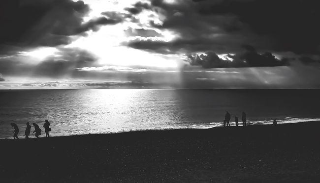 Showcase March Hanging Out Getting Inspired Taking Photos From My Point Of View People Sea Clouds And Sky Light And Shadow Blackandwhite Beach Photography IPhoneography Good Morning Dear