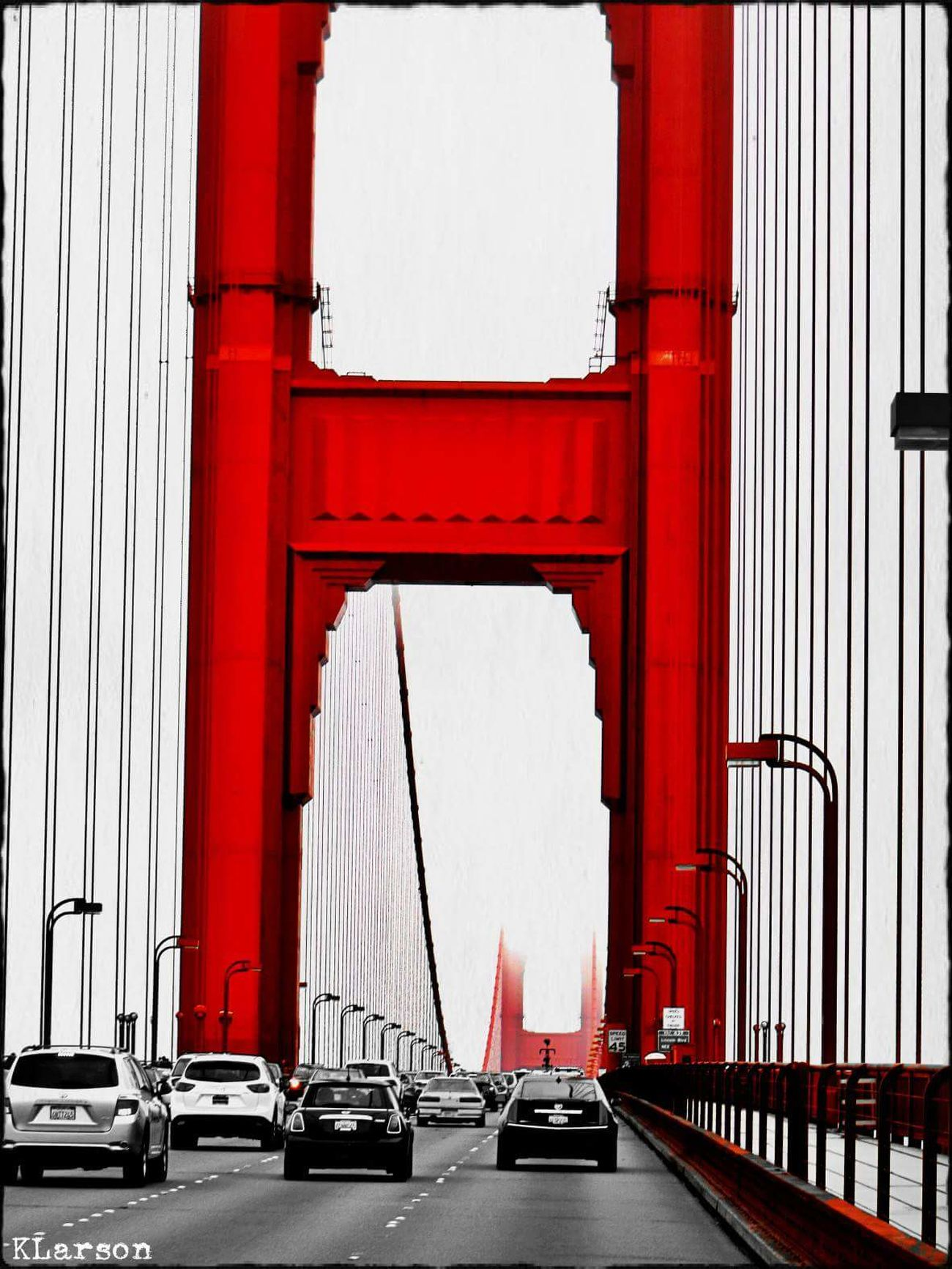 Red Transportation Bridge - Man Made Structure Built Structure Architecture Connection City No People Day Outdoors Golden Gate Bridge San Francisco Colorsplash EyeEmNewHere Eyeemphotography Bridge Traffic Lines Cars