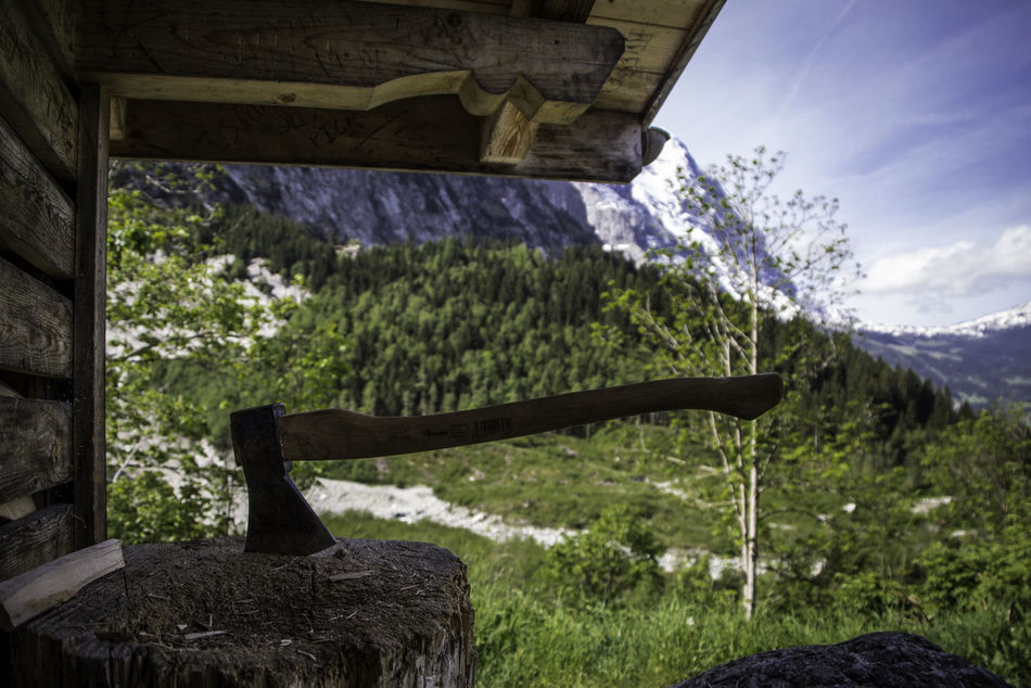 Hiking in Switzerland Axe Beauty In Nature Cabin Composition Day Depth Depth Of Field Focus On Foreground Forest Green Majestic Mountain Nature Non Urban Scene Peace Scenery Scenics Sky Solitude Switzerland Tranquil Scene Tranquility Tranquility Wildlife & Nature Woods