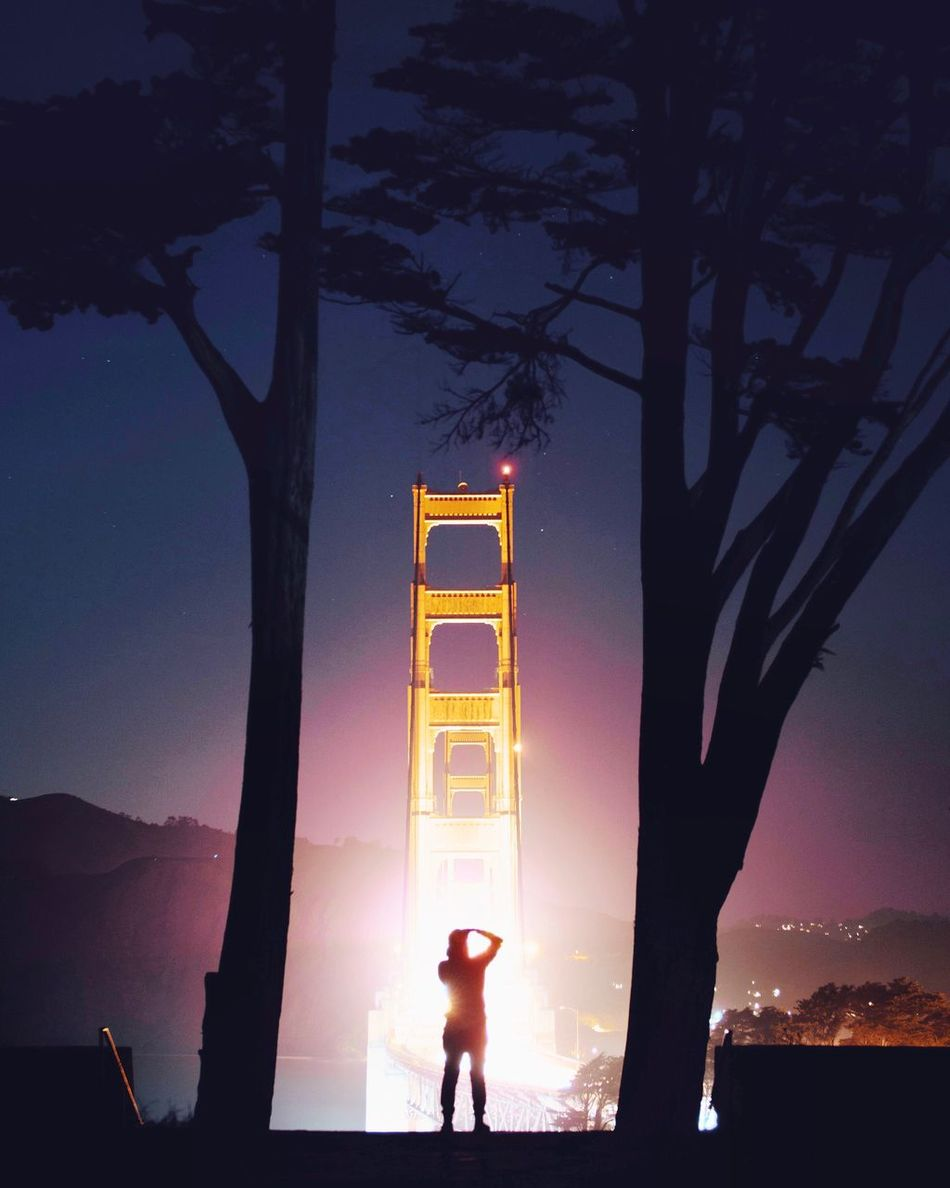 Golden Gate Bridge Night Silhouette Sky Beauty In Nature Tree Outdoors Sunset Nature People Golden Gate Bridge