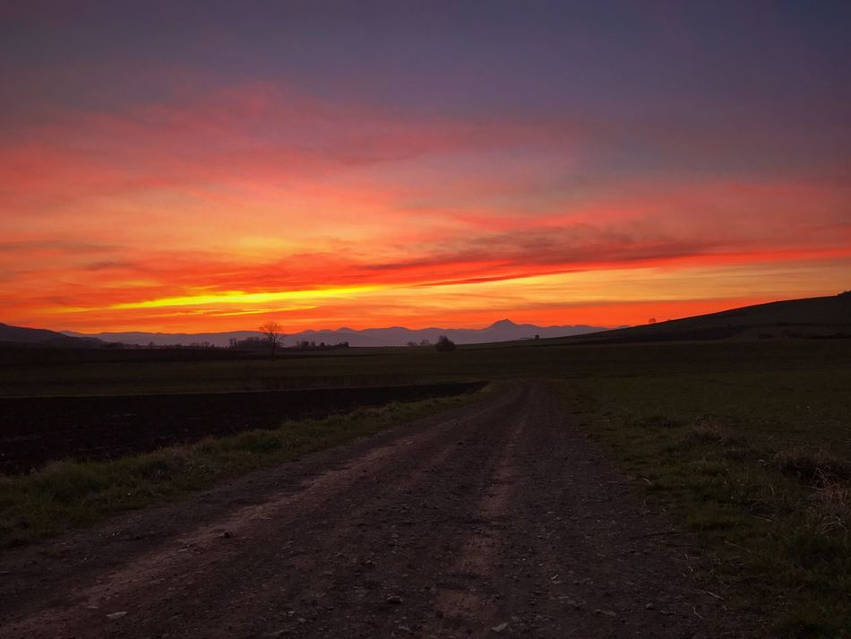 Sunset Landscape Scenics Nature The Way Forward Beauty In Nature Tranquility Sky Field No People Cloud - Sky Road Tranquil Scene Outdoors Clouds Volcanoes AuvergneRhoneAlpes Sunset_collection Puy De Dôme Puydedome Auvergne Sky And Clouds Clouds And Sky Firesky Chainedespuys