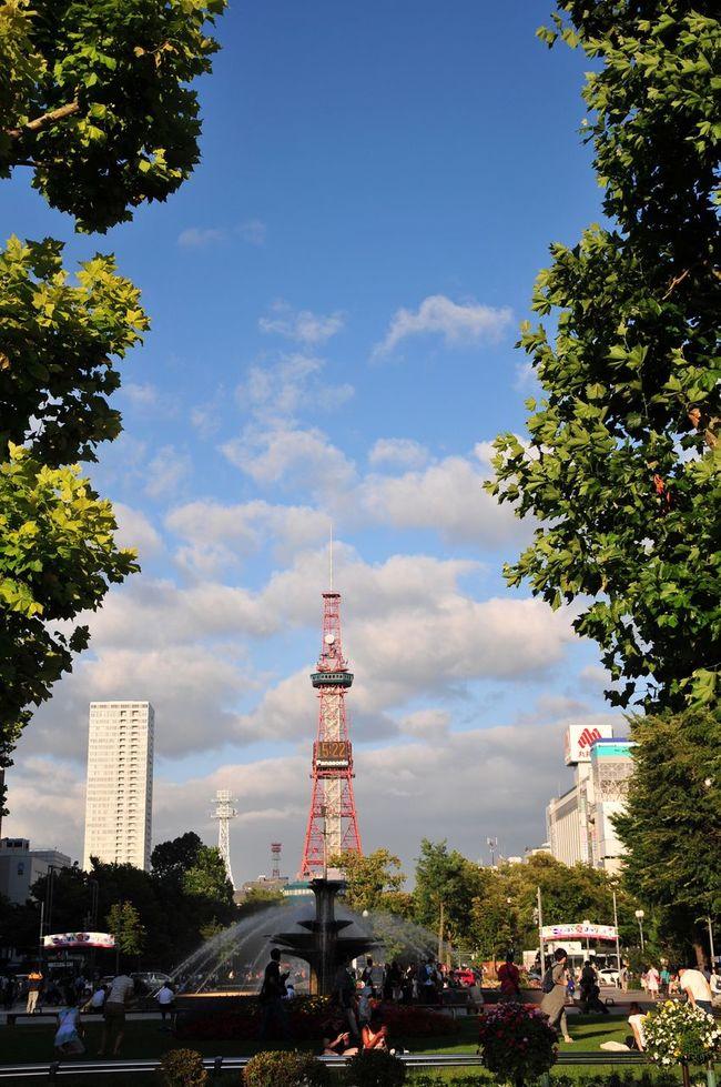 Sapporo Odori Park Sapporo Odori Park Sky And Clouds Fountain Tower