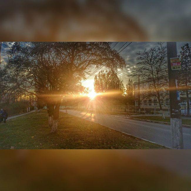 Азов солнце Закат солнечныелучи лучисолнца деревья небо облака трава здание школа столб тротуар дорога улица осень ноябрь мрачно мрак snapseed