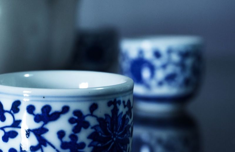 Feel pretty after a couple of chinese tea in the morning Traditional Chinese Pattern Blue Chinese Tea Tea Tea Cups Cup Chinese Porcelain Porcelain  Morning Indoors  Table Focus On Foreground Close-up Blue No People Love Yourself Drink Love Yourself