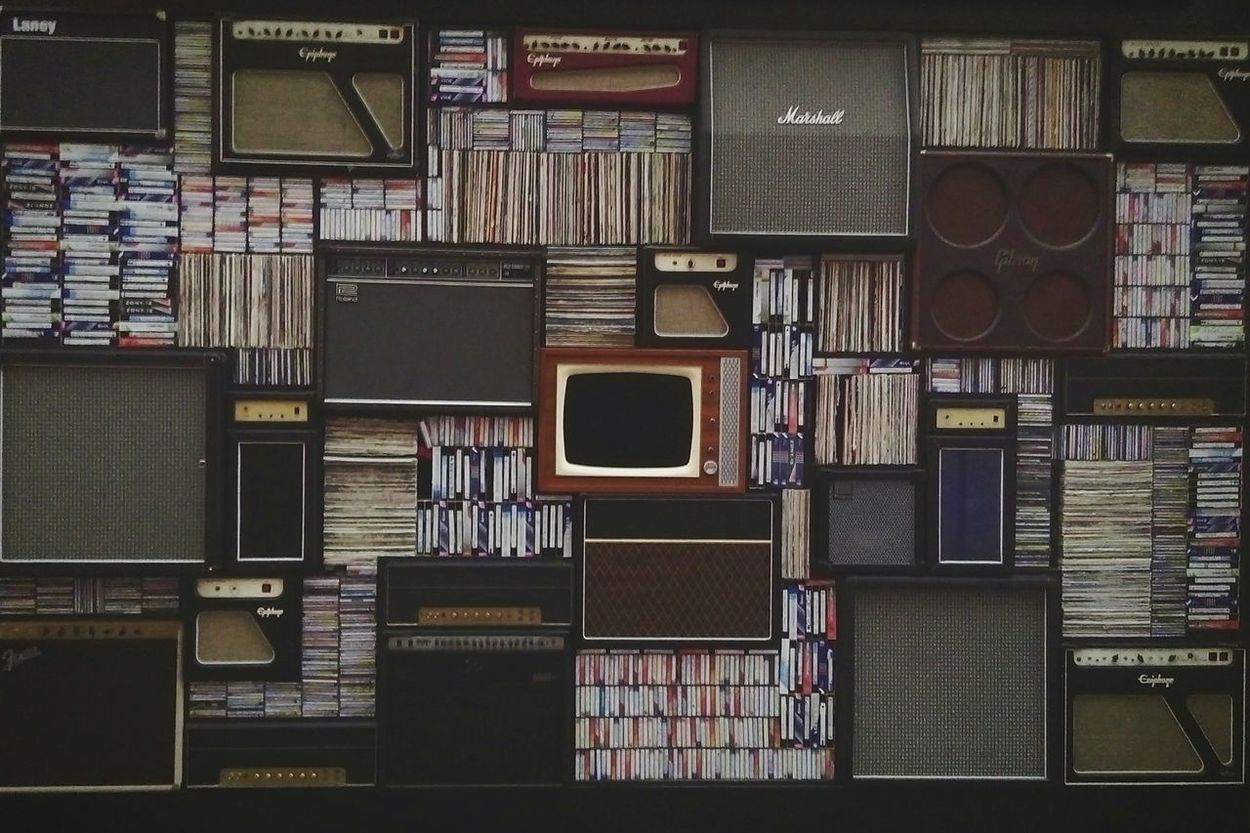 Large Group Of Objects No People Technology Bookshelf Vynyls Vintage Tv Amplifiers Music O2 Arena Indoors  Library VHS