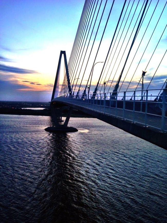 Ravenal Bridge Charleston SC Harbor Sunset Blue Hour