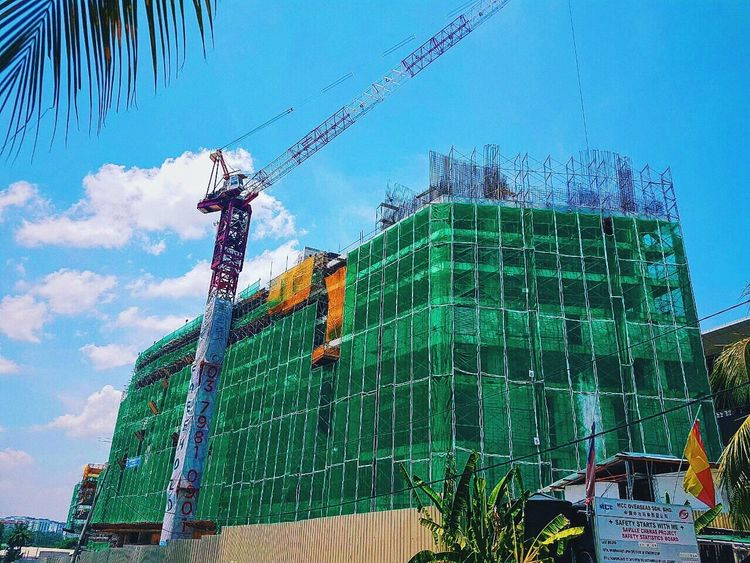 Construction in progress. Let the blusky tell the story. Construction Site Inprogress Blusky Safety First!