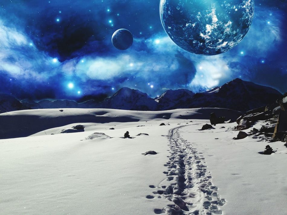Break The Mold Art Nature Beauty In Nature Tranquil Scene Moon Scenics Mountain Tranquility Snow No People Cold Temperature Winter Landscape Night Sky Outdoors Sand Astronomy Space Irreal Surrealism Surrealist Art Surreal
