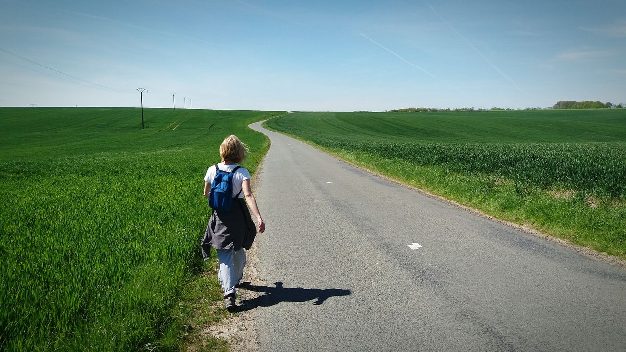 On The Road Hikingadventures Hiking Fieldscape Blue Sky From My Point Of View Exploring New Ground Lost In The Middle Of Nowhere Road Picardie Horizon Over Land Landscape The Great Outdoors With Adobe Middleofnowhere