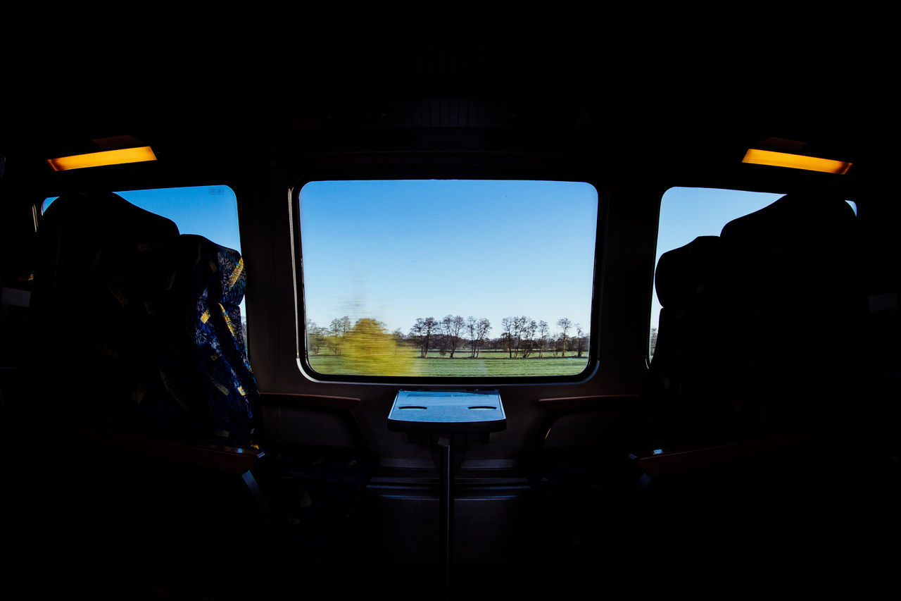 on a train Blue Sky Day Nature No People Outdoors Seats Sky Train Interior Train Ride Transportation Travel Traveling Vacations The Great Outdoors - 2017 EyeEm Awards