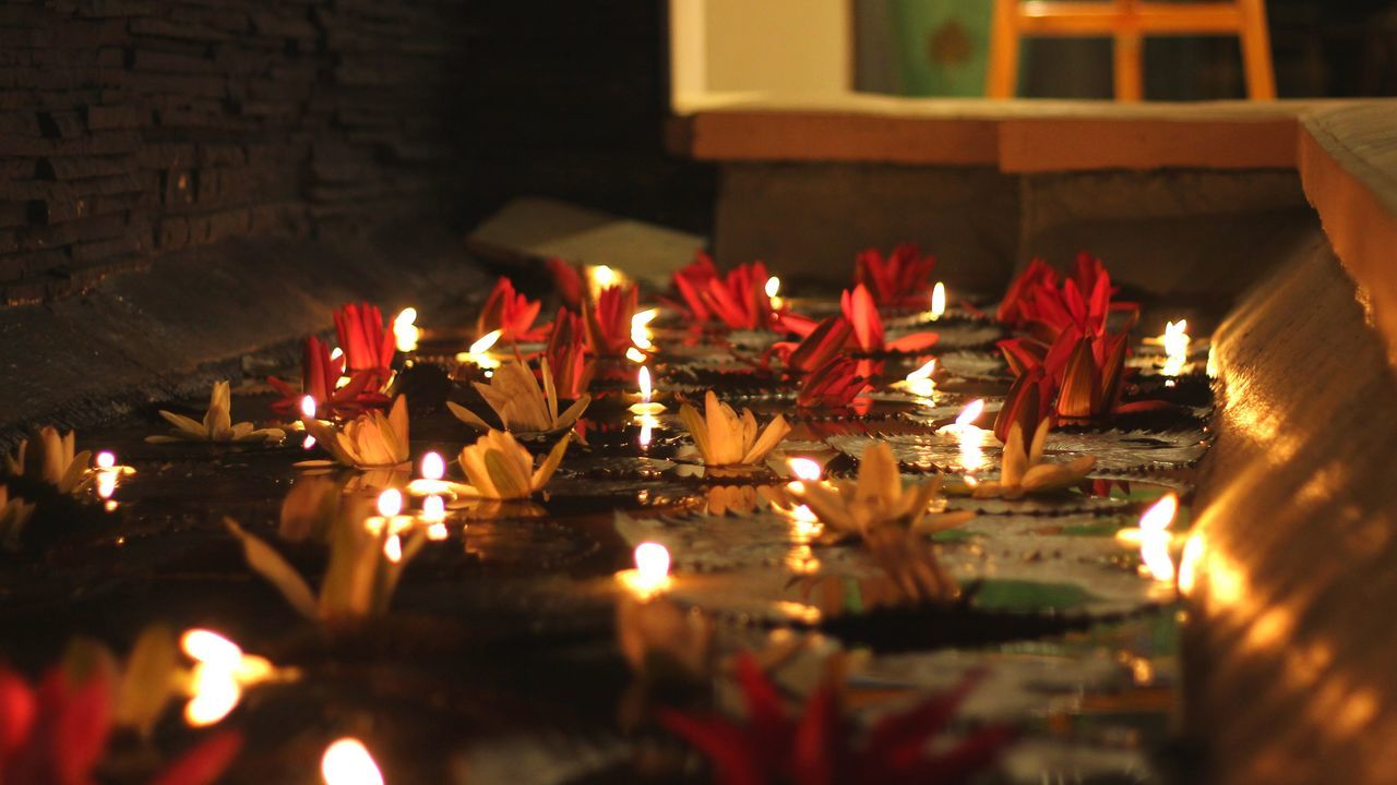 Celebration Indoors  Night Illuminated Lotus♥ Tradition Red Diya - Oil Lamp Flame Close-up Spirituality Fisherman's Cove