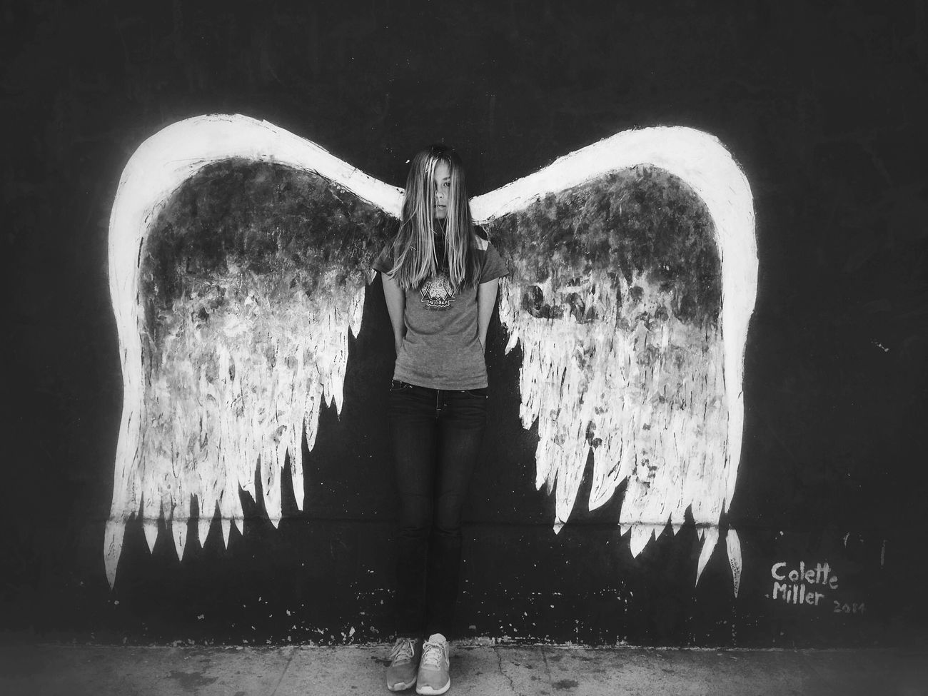 Lalaland Wings One Person Standing California EyeEm Best Shots Fine Art Photography Blackandwhite Bw_collection Wings Angle Losangeles Los Angeles, California Lalaland