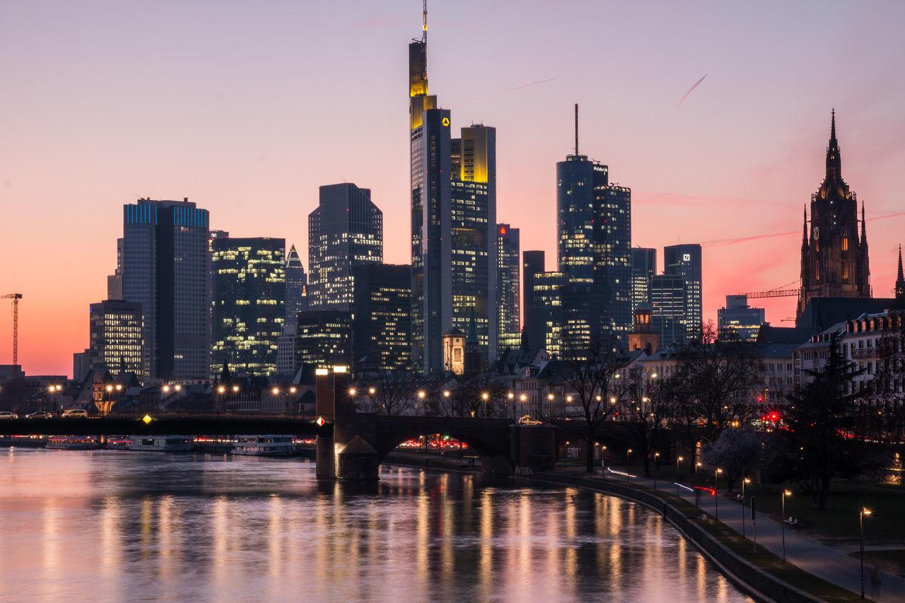 Architecture City Frankfurt Am Main Illuminated Luminale 2016 Reflection Skyscraper Urban Skyline