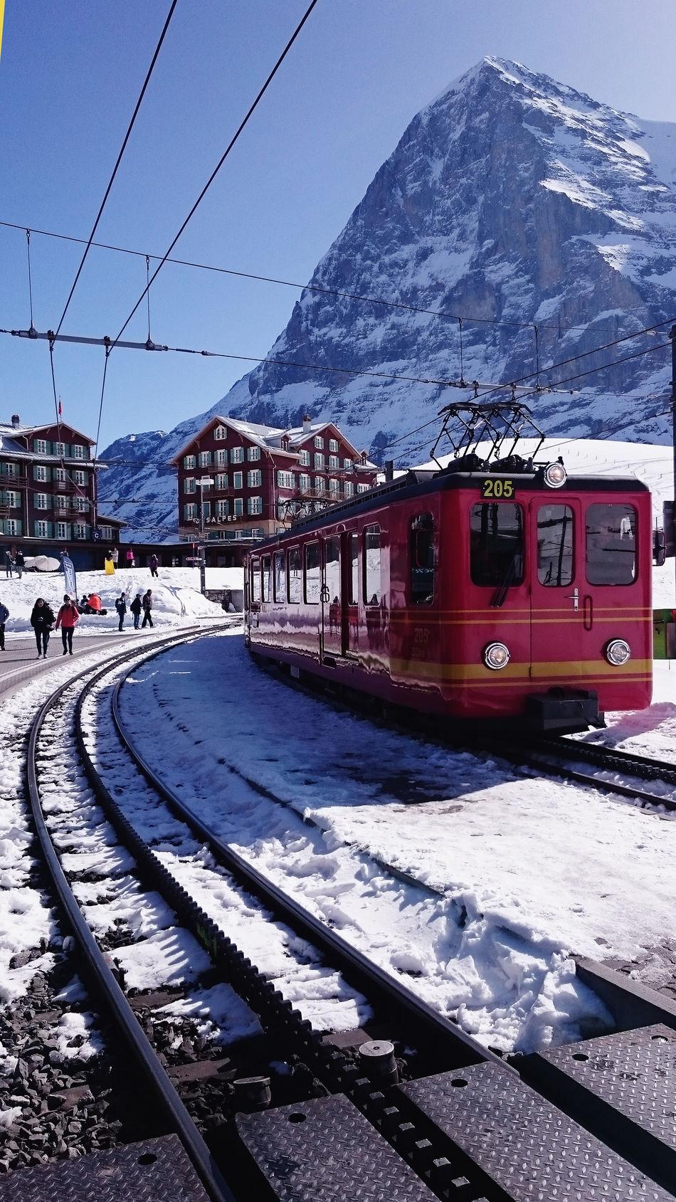 Cable Car Cold Temperature Day Jungfrau Mode Of Transport Overhead Cable Car Public Transportation Rail Transportation Railroad Track Snow Swizterland Tram Transportation