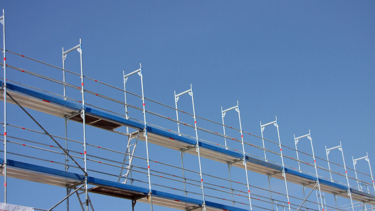 Industry Scaffolding Architecture Blue Building Industry Built Structure Clear Sky Day Low Angle View No People Outdoors Scaffold Scaffolding Materials Sky