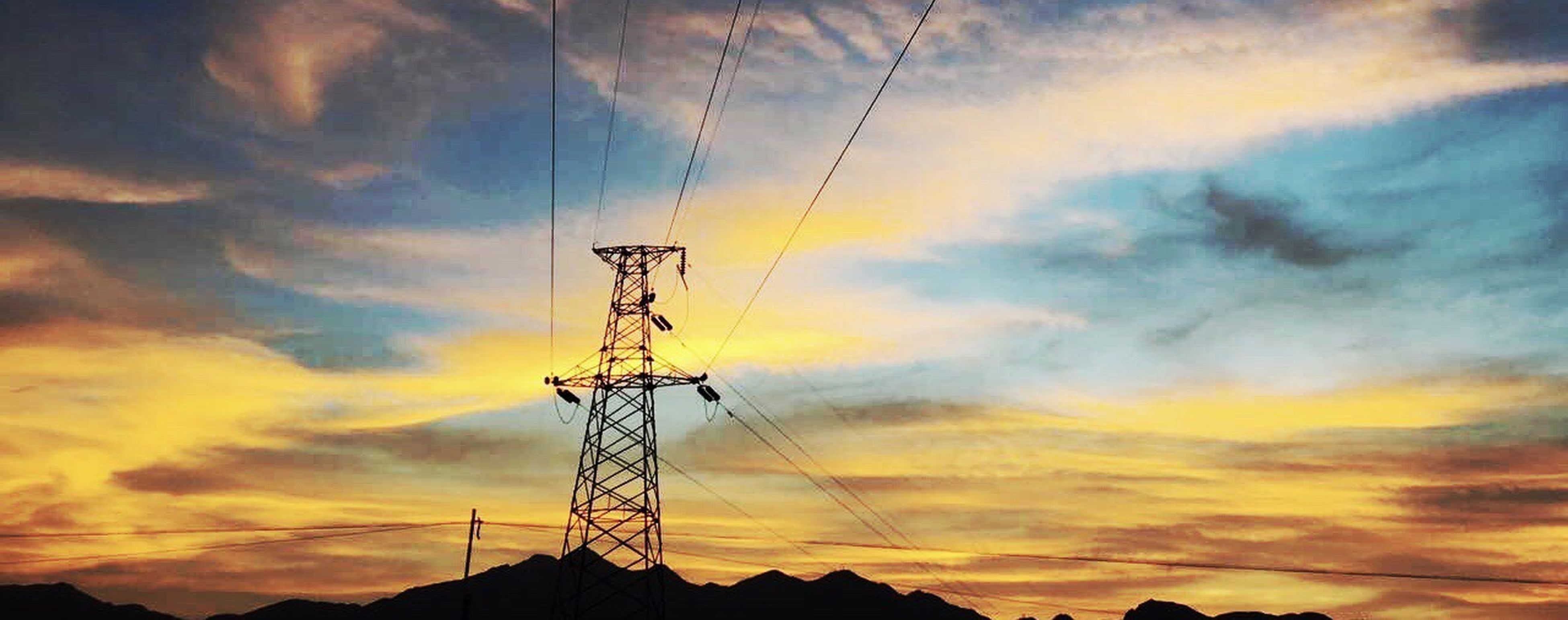 cable, electricity pylon, electricity, cloud - sky, connection, sky, power supply, sunset, power line, silhouette, fuel and power generation, technology, outdoors, no people, low angle view, nature, day