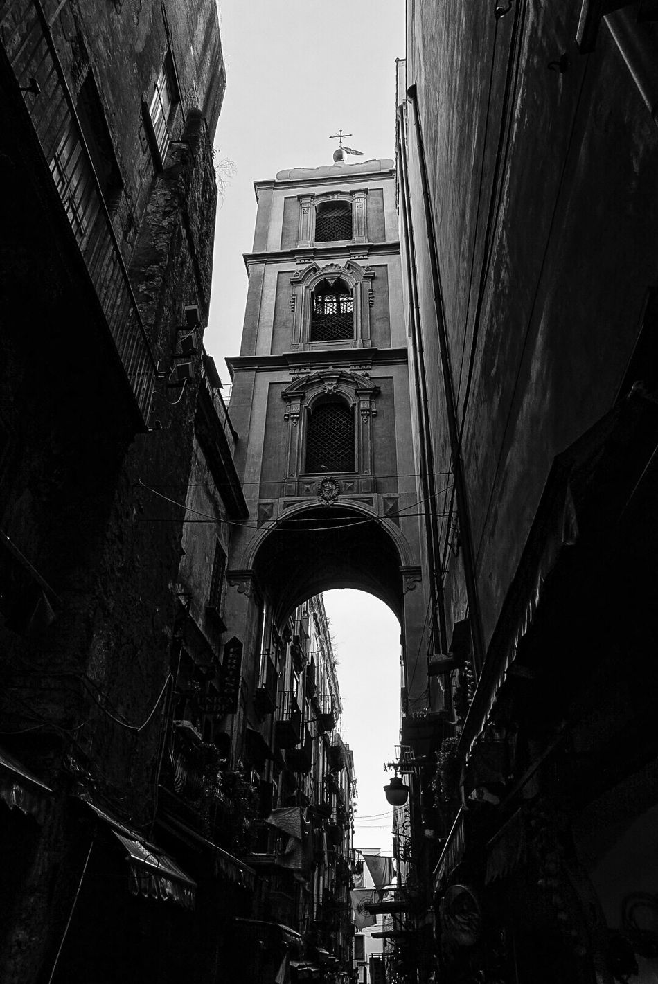 Napoli San Gregorio Armeno Architecture Built Structure Building Exterior Low Angle View Sky Outdoors Day City No People Napoli Naples Napoliphotoproject Napoli ❤ Monochrome Monochrome Photography Streetphotography Holiday Visiting