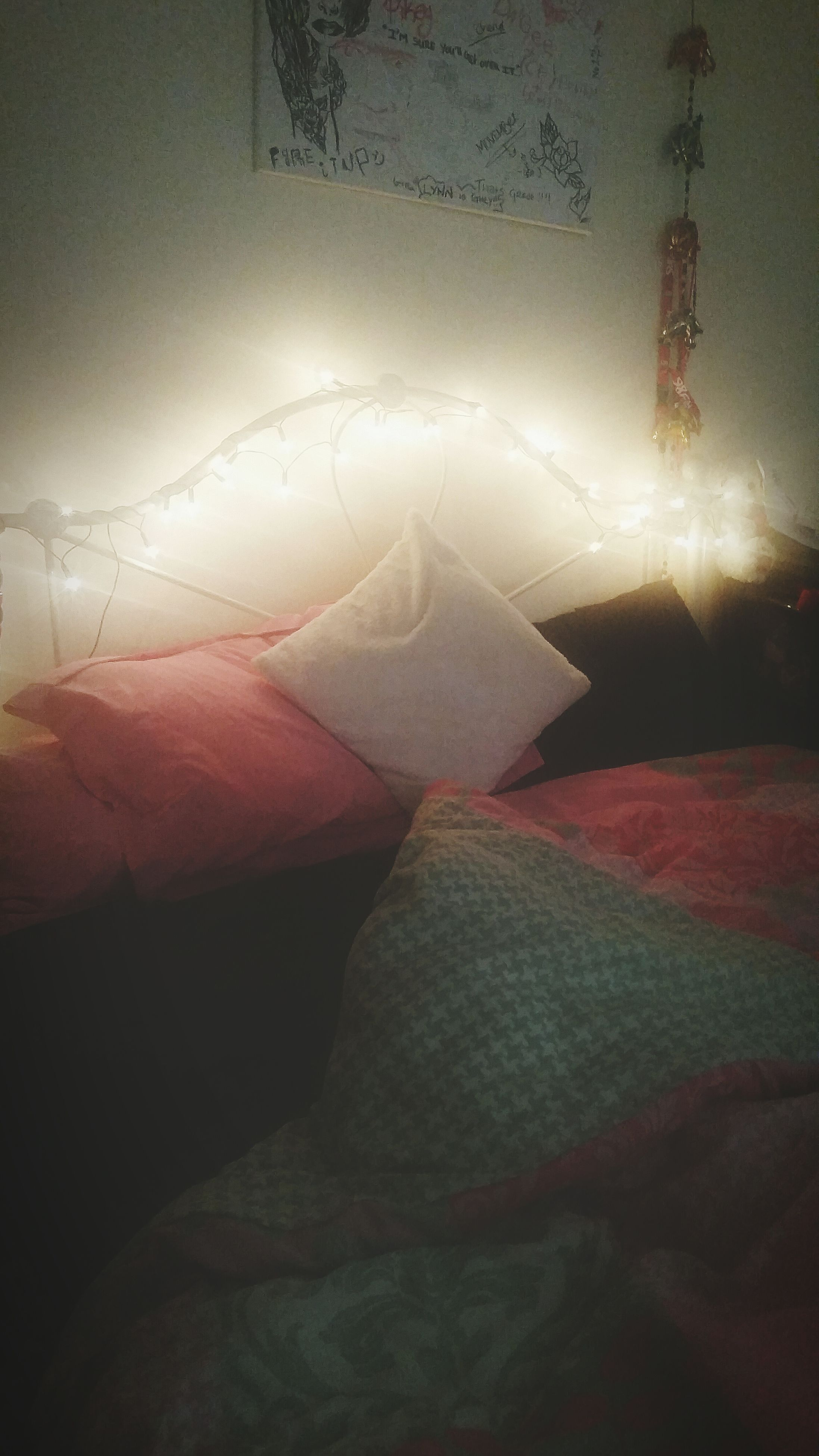 indoors, illuminated, textile, pattern, fabric, electricity, winter, no people, lighting equipment, covering, night, snow, wall - building feature, tranquility, nature, cold temperature, copy space, white color, sky