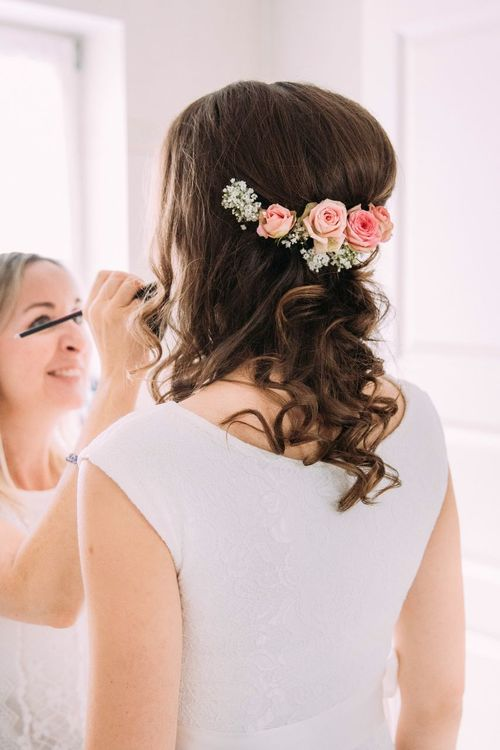 Bride Flower Wedding Real People Celebration Life Events Wedding Dress Love Wearing Flowers Two People Togetherness Indoors  Women Bouquet Young Women Home Interior Lifestyles Wedding Ceremony Headshot Young Adult Getting Ready Getting Ready For Wedding Wedding Photography Flowers In My Hair Weddingphotography