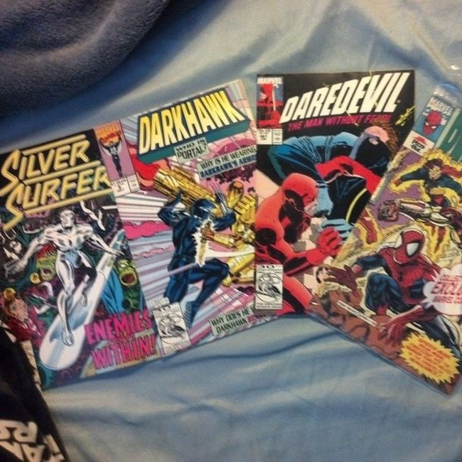 Some old comics re-found in a box a bit back. First three have 30th anniversary of Spider-Man in the bottom left corner. Last one is a Real Heroes title comic from Pizza Hut. Ah, the good old days. Ha ha. Comics 30thanniversary Silversurfer Daredevil darkhawk realheroes firestar spiderman humantorch ironman marvel old marvelcomics awesome