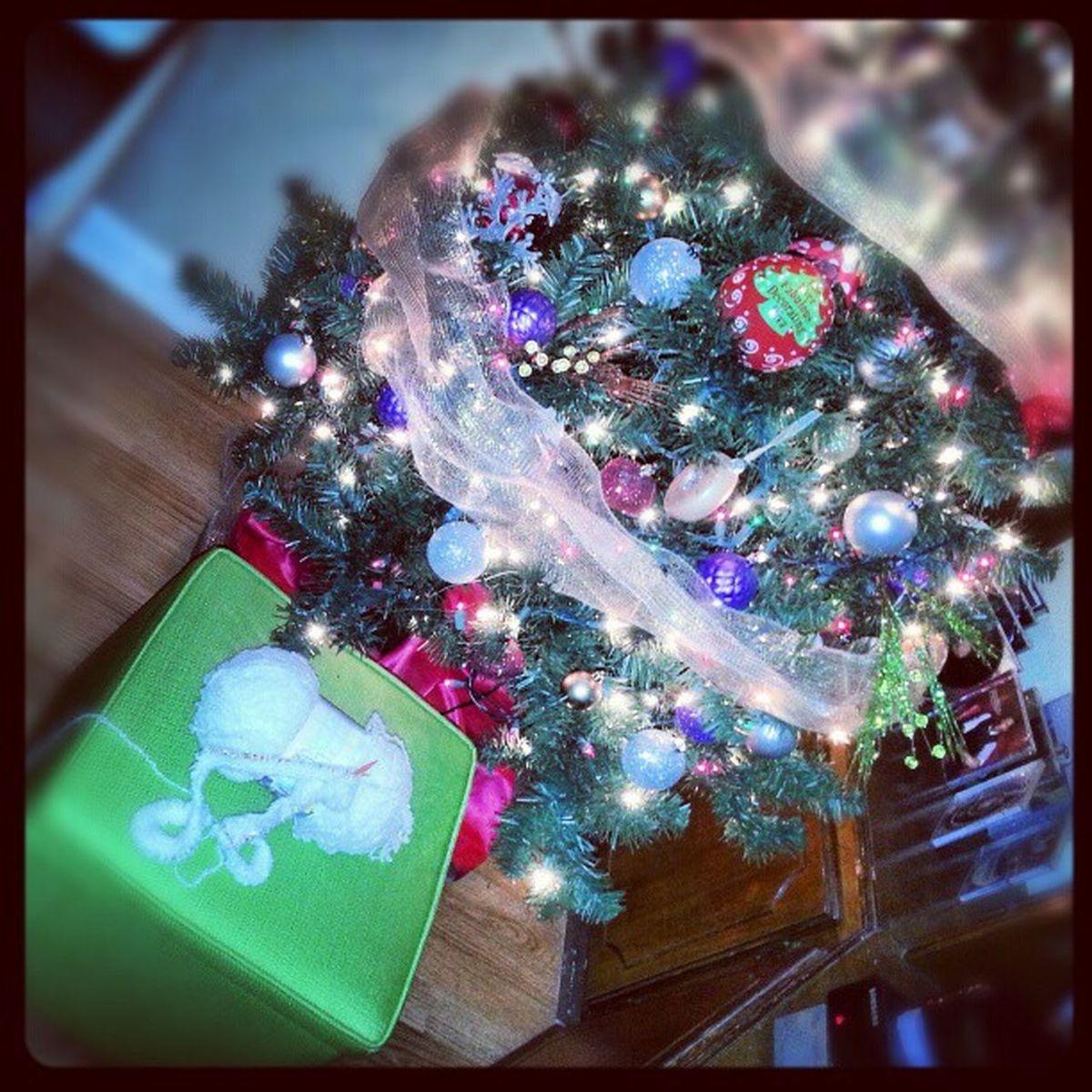 Knitting and watching The Santa Clause  Knitting Circularneedles Christmastree Lights