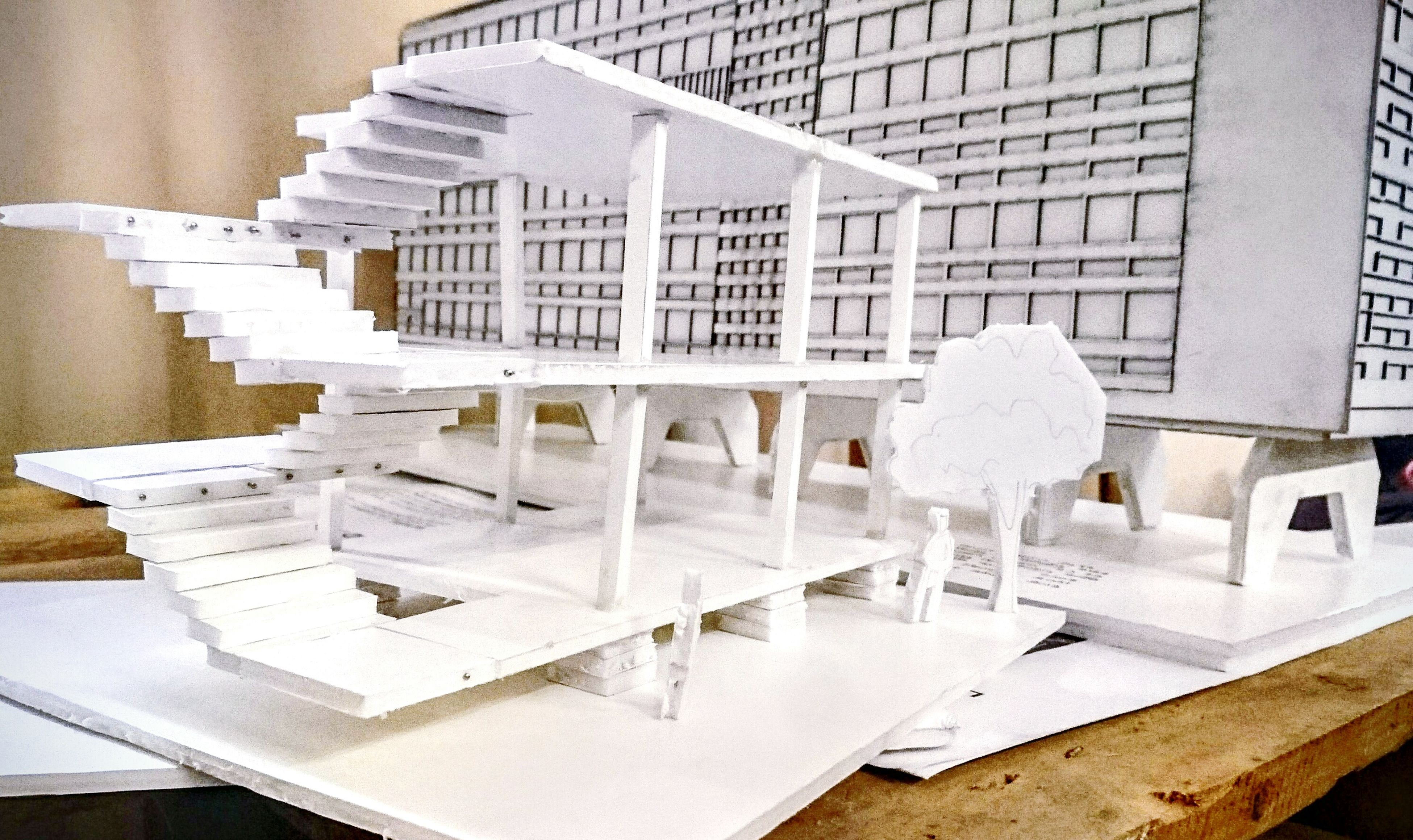 Architecture Building Exterior All White Micheal Graves Dom-ino Maquette Modern Architecture Students Work