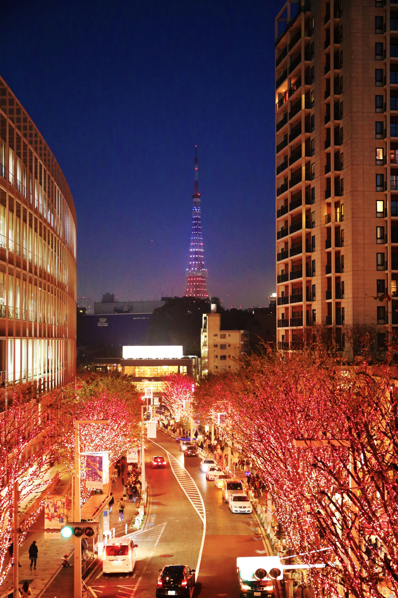 2015  Architecture Building Exterior Car Christmas City Illuminated Japan Night Outdoors Red Road Roppongi Skyscraper Tokyo Tokyo Tower イルミネーション 東京タワー