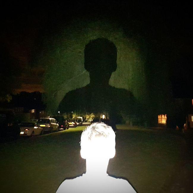 Silhouette Night One Person Horizontal Illuminated My Son Calum Tree Torchlight Shadow On A Tree